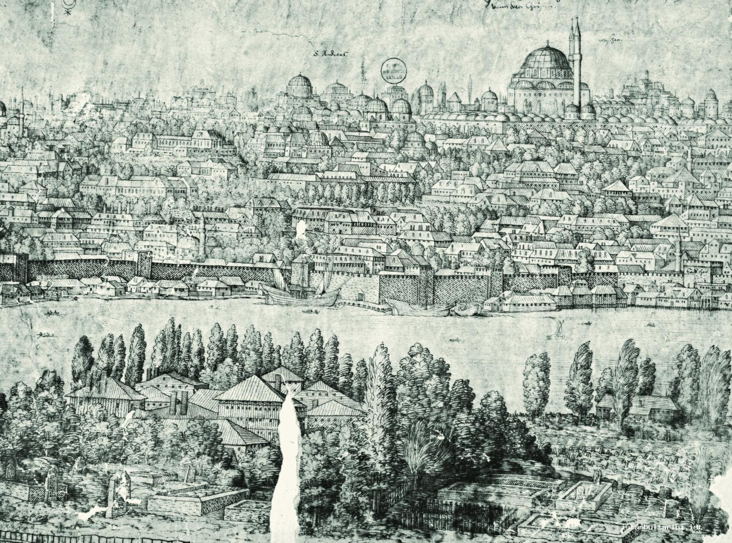 26- The early state of Fatih Complex founded by Sultan Mehmed II (the structure destroyed by 1766 Earthquake and existed before the present complex which was built in its place.) Two shores of Golden Horn and the Walls (Lorichs)