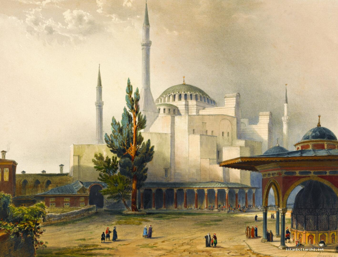 6- The outer view of Hagia Sophia which was transformed into a mosque by Sultan Mehmed II (Fossati)