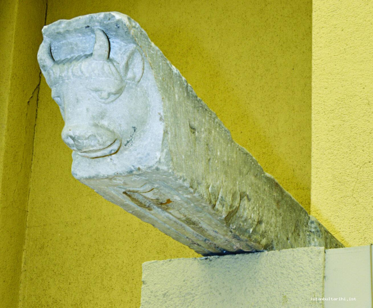 4- The bull-headed great overhang found in Saraçhane excavations (5<sup>th</sup> – 6<sup>th</sup> Centuries) (Istanbul Archeology Museum)