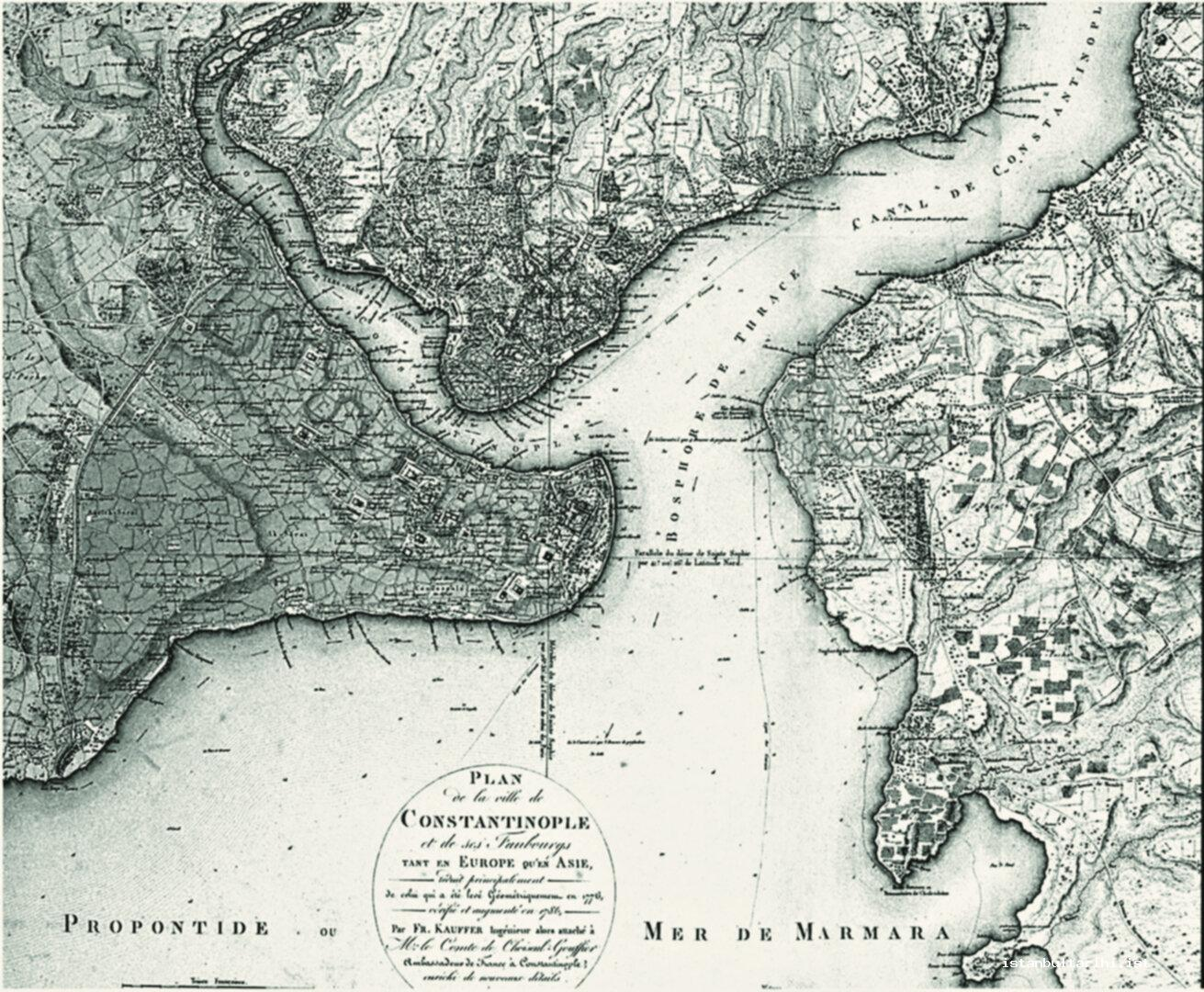 3- Map of Istanbul by Kauffman and Lechevalier (1786).