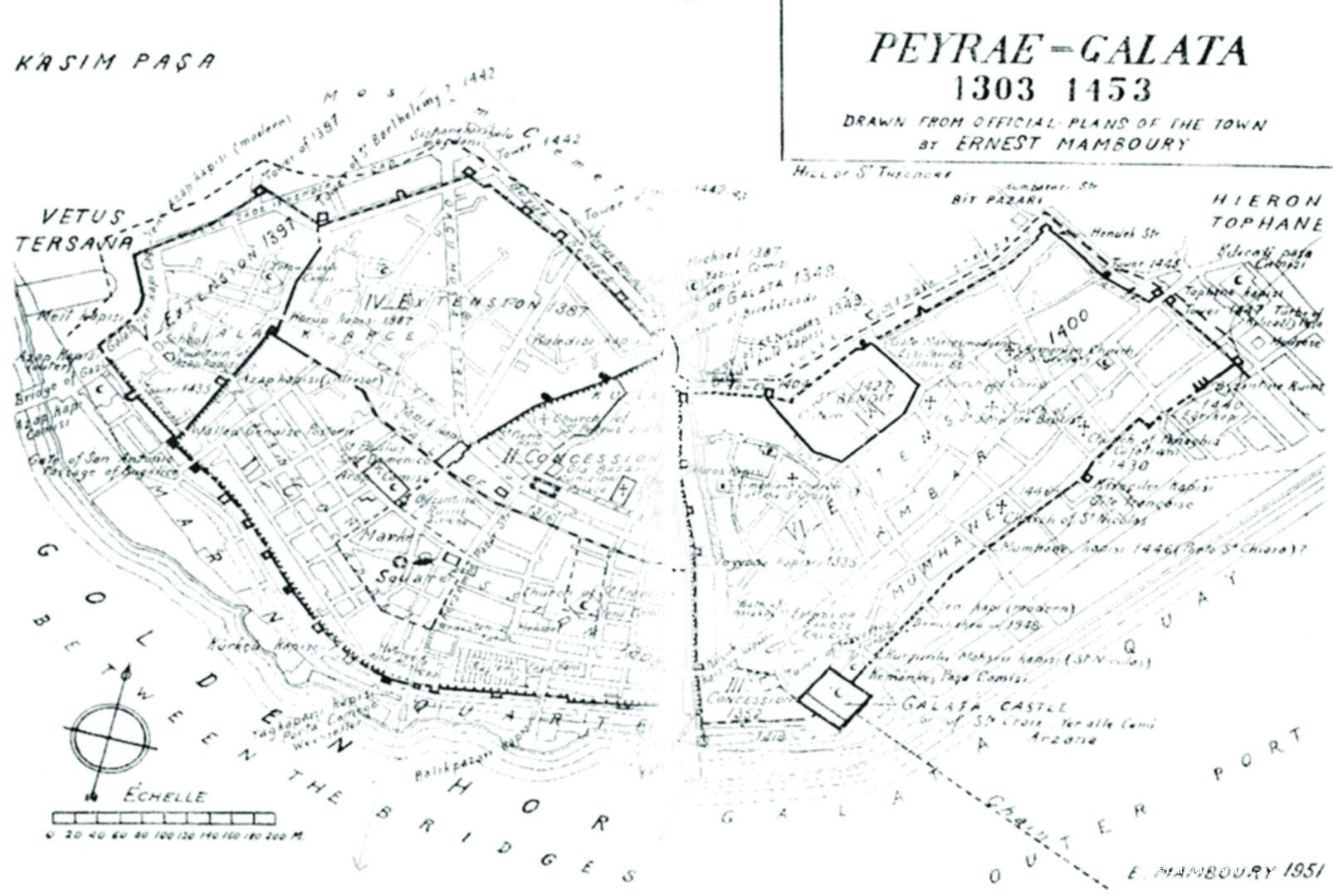 8- Galata Map drawn by Mamboury (1951).*<br>