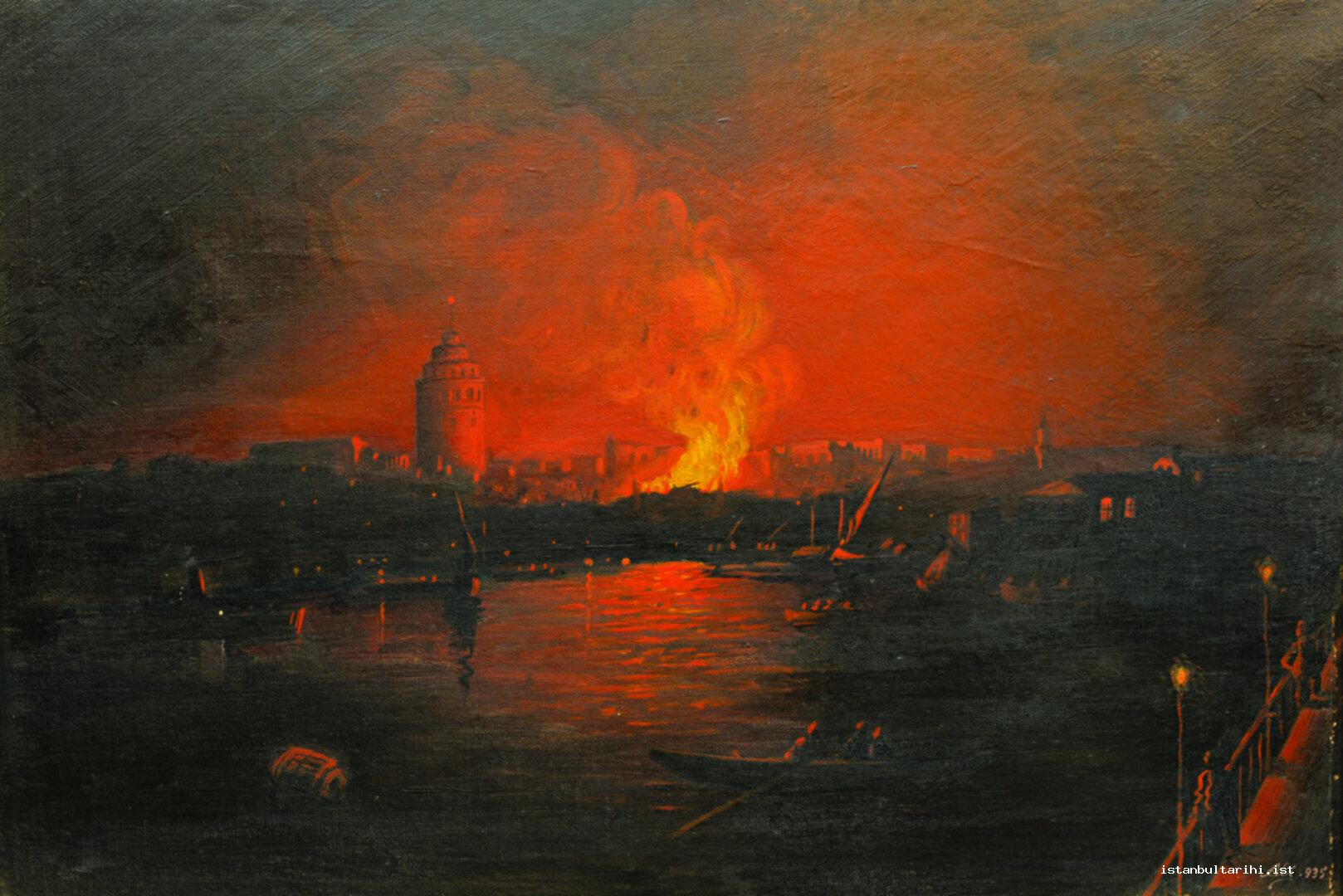 1- A painting depicting Galata fire which happened in 1935 (Istanbul Metropolitan Municipality, Fire Department Museum)
