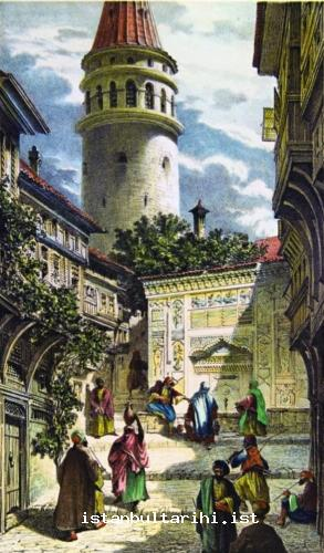 5- Galata Tower, its fountain and residents (Flandin)