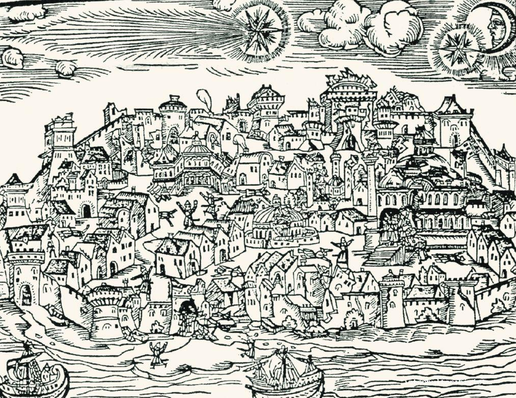 "1- An engraving depicting the 1509 Istanbul Earthquake known as ""Little Doomsday"" in Ottoman history"