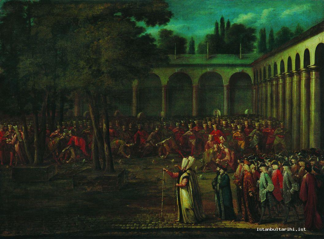 14- Ambassador Cornelis Calkoen's passage through Topkapı Palace second yard during a banquet (çanak yağması) given to the janissaries (Vanmour, Pera Museum)