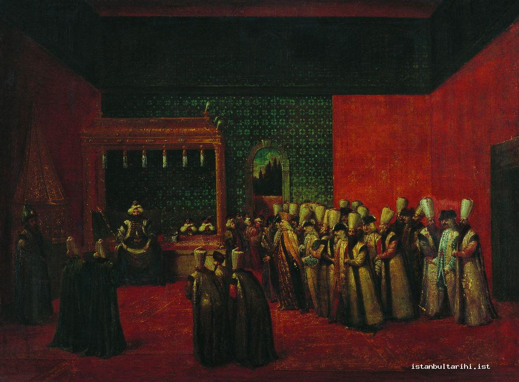 15- Sultan Ahmed III's acceptance of Ambassador Calkoen in Topkapı Palace admission hall (Vanmour)