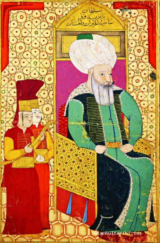 "2- Sultan Bayezid II: The text written on miniature: ""Sultan Bayezid al-Wali,Doer of charities and good deeds."""