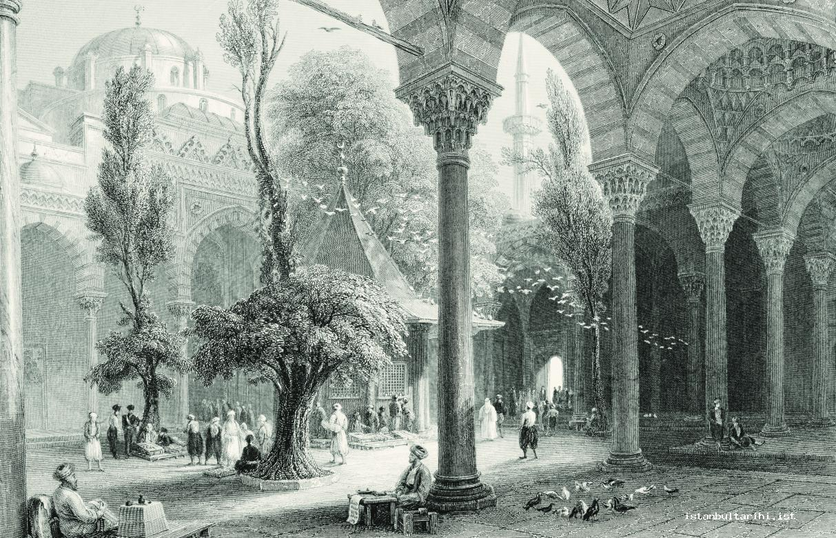 13- The yard of Beyazid Mosque, one of the meeting places of the people of Istanbul (Bartlett)
