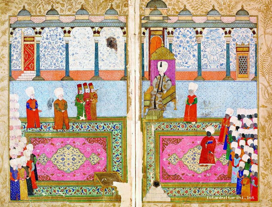 5- Sultan Osman (Young) II's meeting with the heads of the servants (haremağası) in Topkapı Palace (<em>Tercüme-i Şehname</em>)