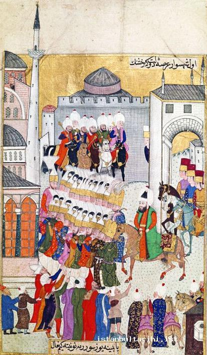 1- Sultan Murad III going from Topkapı Palace to Ayasofya Mosque for Friday Prayer (<em>Nadiri Divanı</em>)