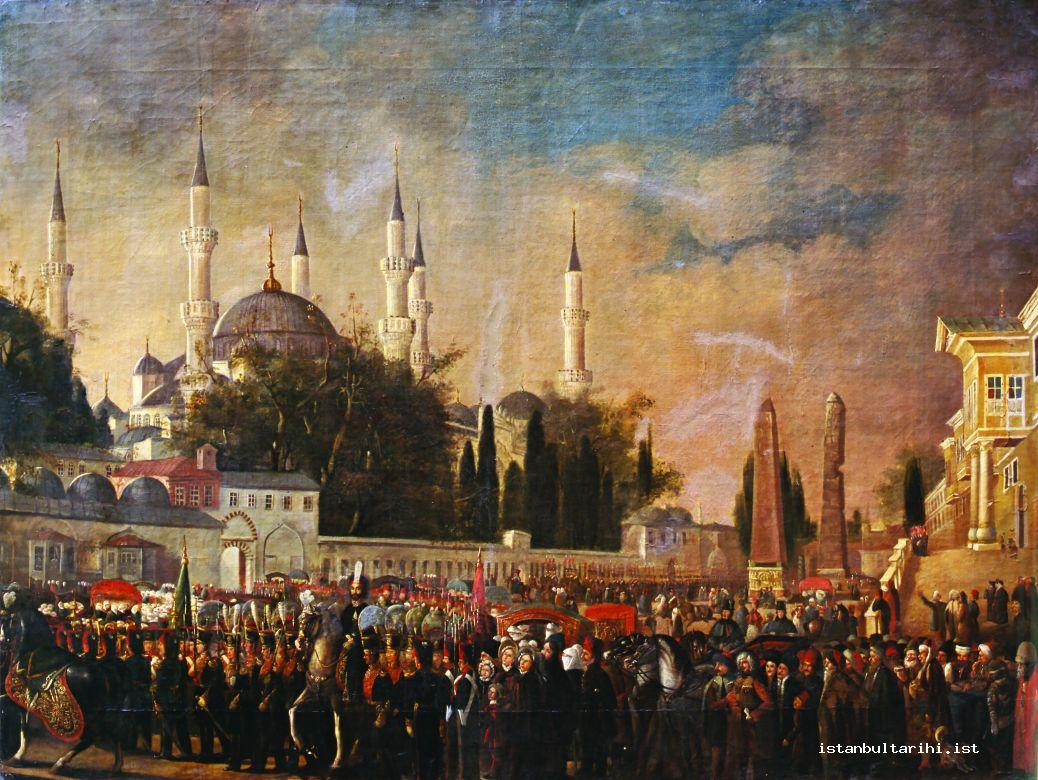 4- Sultan Abdülmecid's Friday public procession in Sultanahmet (1840) (Speranza Fecir, Istanbul Painting and Art Museum, no. 57)