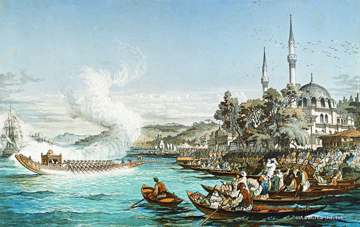 5- Sultan Abdülmecid's coming for Friday Prayer to Hamid-i Evvel (Abdülhamid I) Mosque in Beylerbeyi (Topkapı Palace Museum, Painting Galery, no. 17-616)
