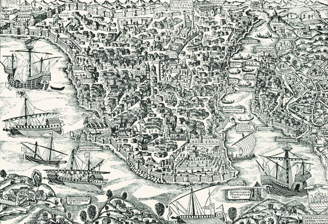 1- Istanbul: The region inside the walls, Galata and the walls surrounding the city (Vavassore), 16th century