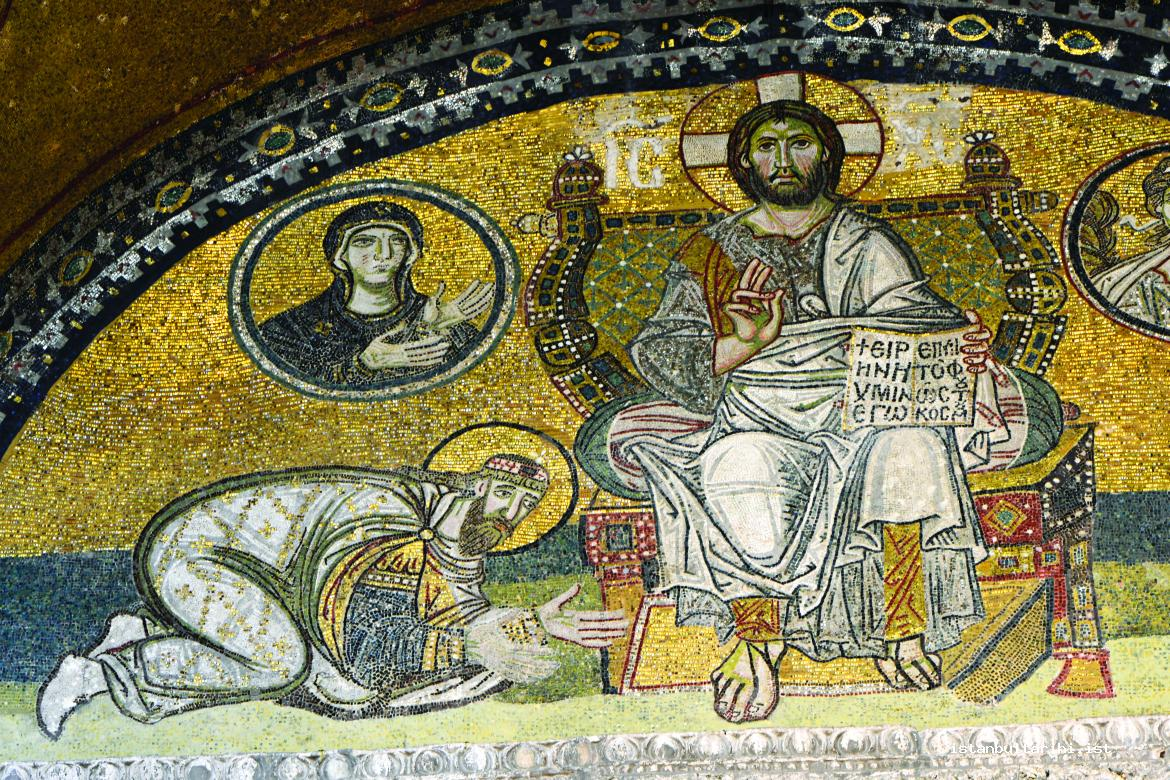 5- Jesus is in the middle in the mosaic with the depiction of Pantokrator Jesus located above the emperor's gate; Archangel Gabriel is on the right side in a medallion and Mary is depicted in a medallion on the left side. Leon VI (816-912), one of the emperors of Eastern Roman Empire, is at the feet of Jesus.