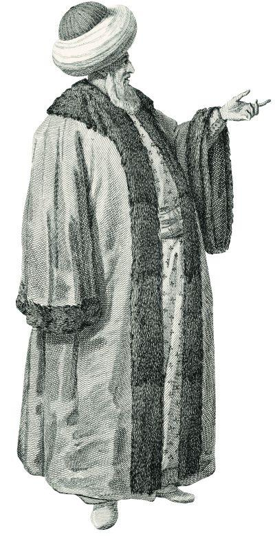 12a- The qadi of Istanbul (d'Ohsson) or the master of Istanbul (<em>Costumes l'Empire Turc</em>, 1821)