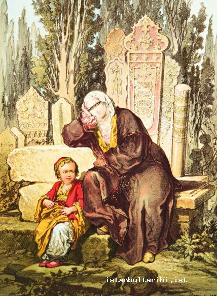 9- A lady and her child in the cemetery (Preziosi)
