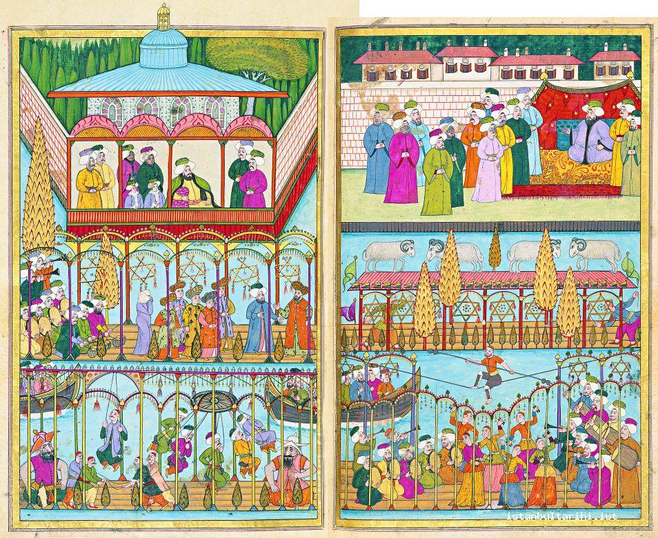 4- Various demonstrations watched by Sultan Ahmed III: The game of Çarpara, ram fighting, swinging, and the acrobats' shows (Vehbi)