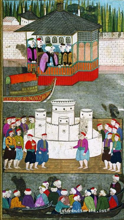 8- In the festivities of 1720, Sultan Ahmed III, state officials, and people watching the demonstrations (<em>Surname-i Vehbi</em>, Topkapı Palace Museum, no. 3594)