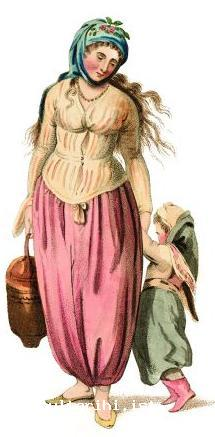 5a- A Greek woman and her child (on the left) (Miller) a Greek man of the cloth (on the right) (<em>Costumes l'Empire Turc</em>, 1821)