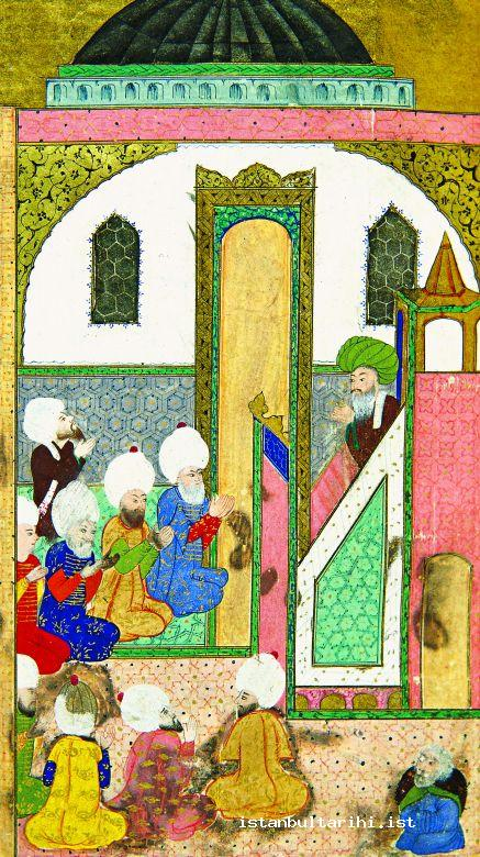 10- The congregation joins the Imam's invocation in Friday Sermon (Topkapı Palace Museum Library, no. 1296)