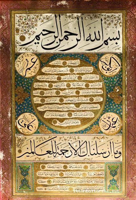 16- Hilya al-Sharif: a framed inscription defining the Prophet Muhammad's physical appearance written in calligraphy (Mustafa İzzet Efendi) (The directorate of Istanbul Tombs and Museums)