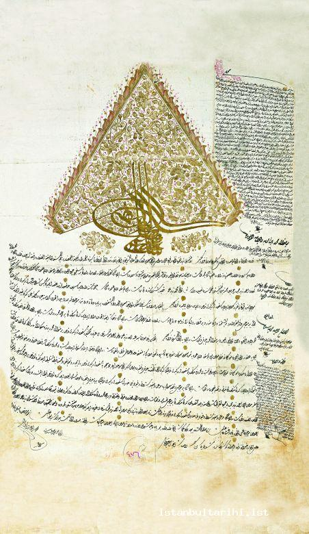 22- Sultan Selim III's imperial edict dated 21 July 1797 about renting timber merchants' and large nail makers' license (gedik) in Kırkkilise belonged to Valide Sultan Endowment (BOA MF, no. 476)