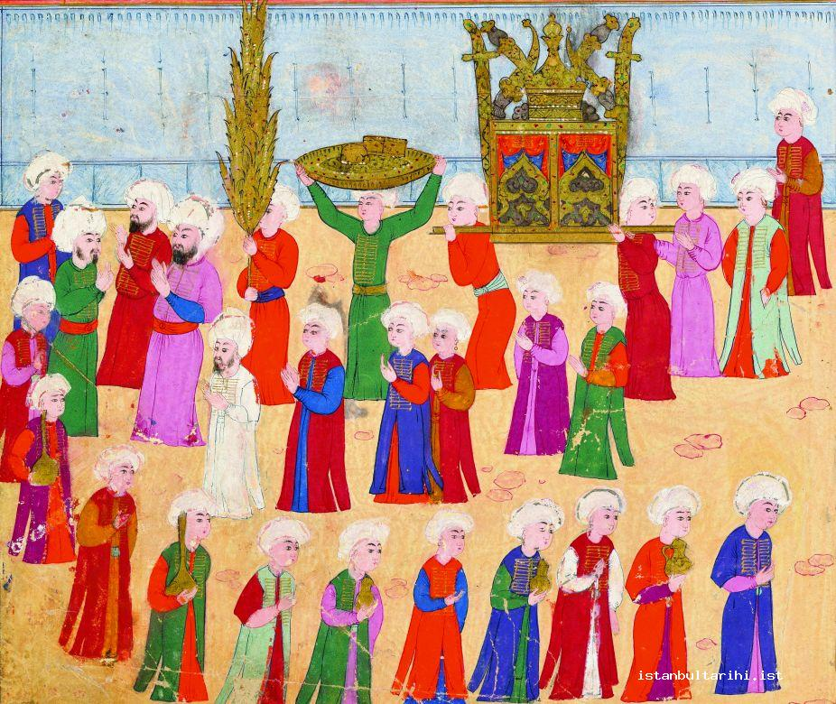 1- The parade of people of the covered bazaar in the festivities of 1582 (İntizami)