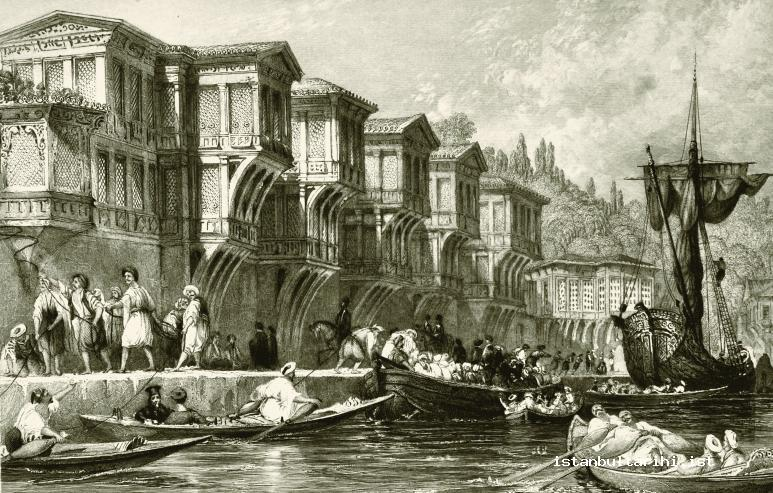 12- Boats and passengers in front of Said Paşa water side mansion (Allom)
