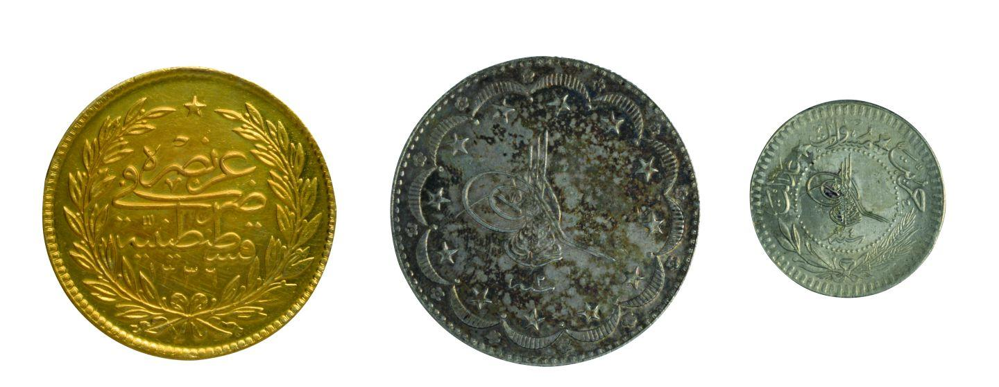 33- Coins minted in Istanbul during the period of Sultan Mehmed Vahidettin VI (Istanbul Archeology Museum, Coins Section)