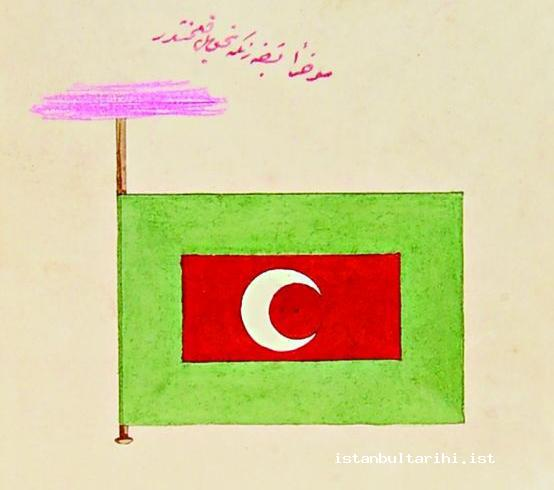 14- With the imperial order of Sultan Abdülaziz dated 12 May 1864, the new flag which would be drawn at all the commercial boats owned by Şirket al-Hayriyye and the ferries of State Treasury (BOA İ.HD, no. 36200)