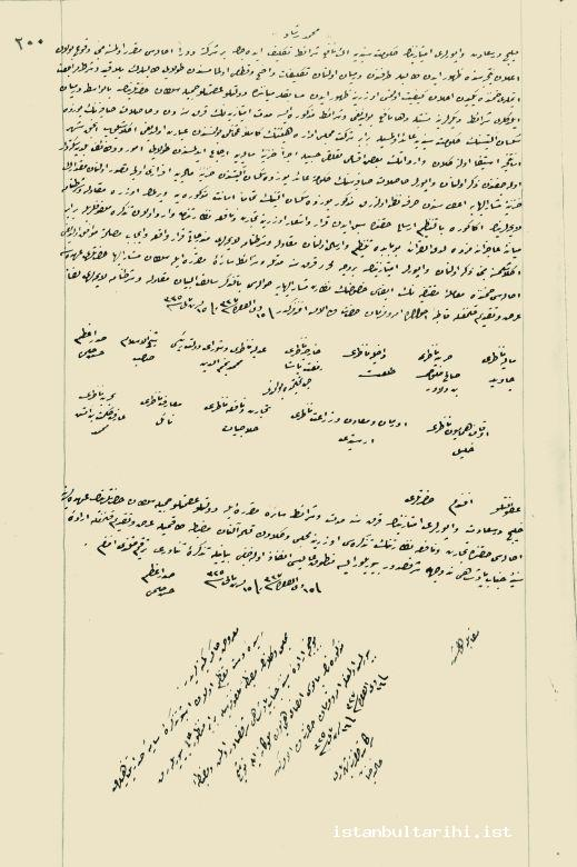 16- A copy of Sultan Mehmed Reşad's imperial edict about giving the capitulations of operation boats in the Golden Horn to Cemile Sultan for forty years (BOA Register of Contracts, no. 18, p. 200)