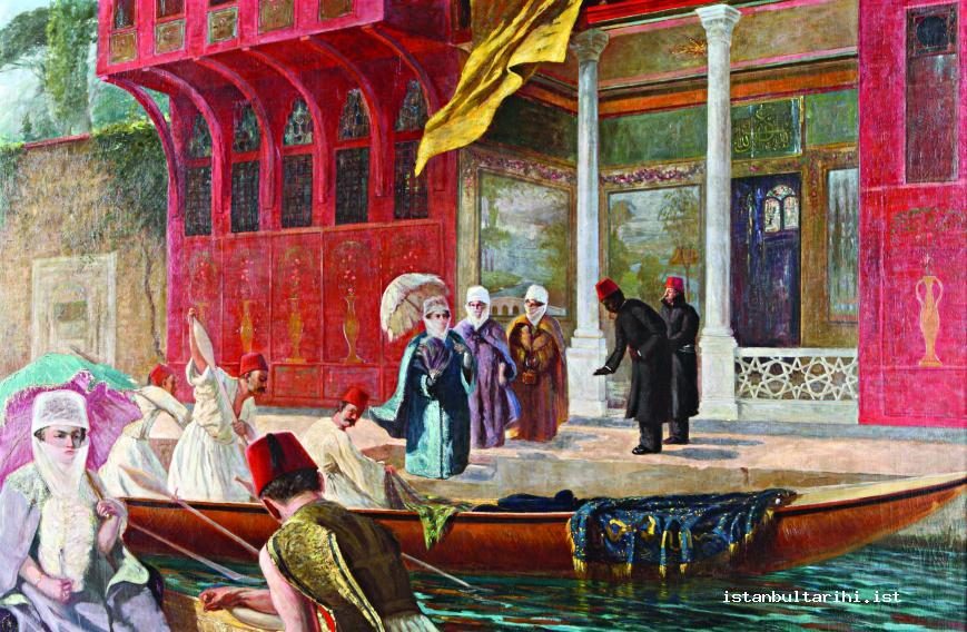 9- The boats and their women passengers in front of water side mansions (Archives of National Palaces)
