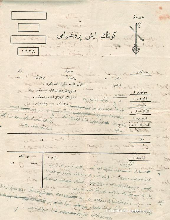 4- A table showing the daily working schedule at Darülbedayi (in Muhsin Ertuğrul's handwriting) (Istanbul Metropolitan Municipality, Atatürk Library)