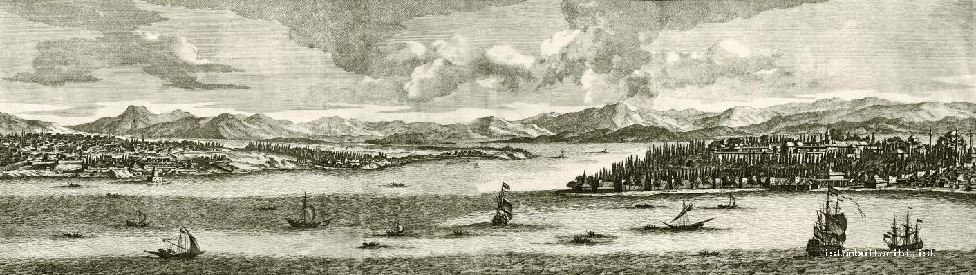 3- Üsküdar and the part of Istanbul within walls in the 17th century. Islands and the shore of the other side of the city are behind them (Bruyn)