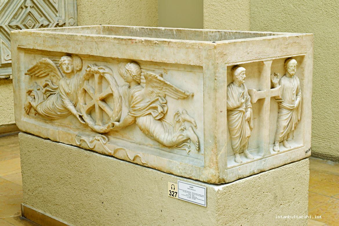 1- A prince's sarcophagus found in Istanbul Sarıgüzel and adorned with monograms of Jesus carried by flying Nikes in a wreath representing the victory of Christianity (Istanbul Archeology Museum)