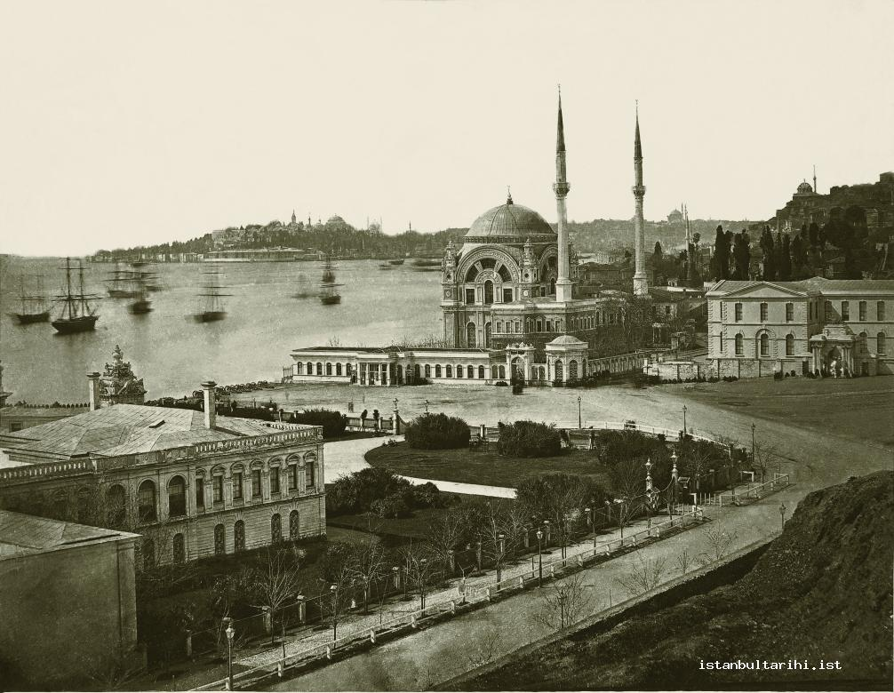 6- Dolmabahçe Palace and Valide Mosque, and next to them is Dolmabahçe Palace Theatre which was demolished in 1939 to open space for the construction of İsmet Paşa Stadium, 1862-1863, Abdullah Biraderler 280X217 mm, albumin paper