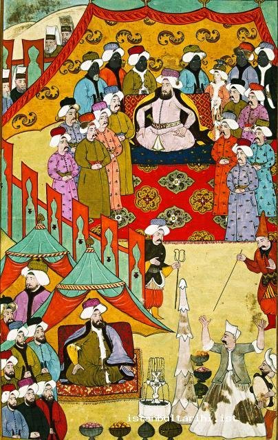 1- Sultan Ahmed III and state officials while watching the games (1720) (Vehbi)