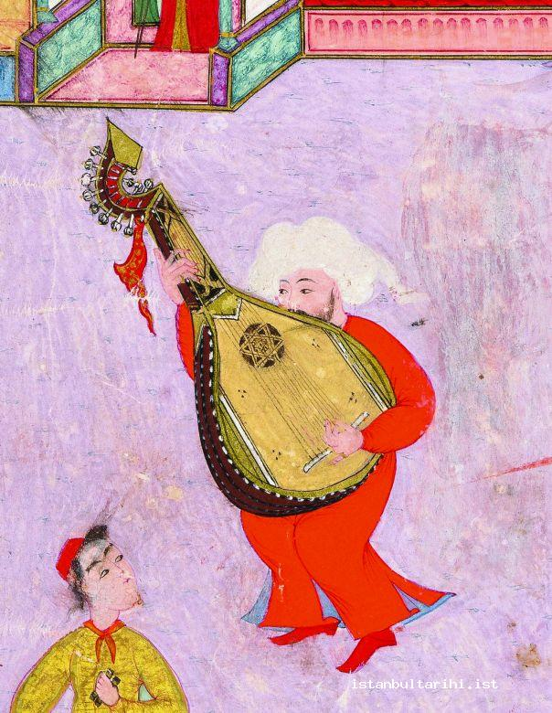 11- Şahrud (bass string of a type of lute) at the end of 16<sup>th</sup> century (İntizami, <em>Surname-i Hümayun</em>, Topkapı Palace Museum Library, H. 1344, a detail from fol. 18b) It does not exist anymore.