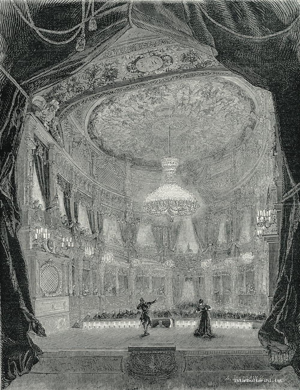 20- A play in Dolmabahçe Palace Theatre the decoration of which was done by F.Séchan, the decorator of French Opera building (<em>L'illustration</em>, 25 June 1859)