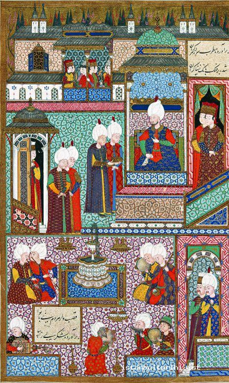 6a- A council of Sultan Süleyman I, November 1539. Probably in the Has Oda (privy chamber) located in the third yard of Topkapı Palace. The circumcision festivities of Sultan Süleyman I's sons, şehzade Bayezid and şehzade Cihangir, were in the At Meydanı (Hippodrome). Sultan Süleyman I's daughter Mihrimah and Rüstem Paşa got married in the same ceremony. Musicians: Two reed players (neyzen), an oud player, a panpipe (mıskal) player, a kemançe player, and singers with tambourines. The black singer in the middle is most probably a gipsy from Egypt. (Seyyid Lokman, <em>Süleymanname, Topkapı Palace Museum Library</em>, H. 1517, fol. 412a)