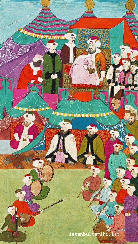 "9- A music demonstration in the presence of Sultan Ahmed III: Burnaz Hasan Çelebi, the head singer (the singer with a hook nose and fur robe sitting at the beginning on the left side and directing the demonstration with his tambourine), ney, kemançe, tanbur and santur. Vehbi says, ""about hundred singers and instrument players …"" The miniature is a representational depiction. It is a painting of Nakkaş İbrahim (<em>Surname-i Vehbi</em>. Topkapı Palace Museum Library, A. 3594, fol. 106b)"