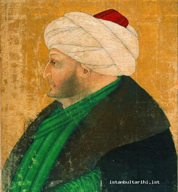 1- The portrait of Sultan Mehmed II. From an album. It is attributed to Sinan Bey (Topkapı Palace Museum Library, no. 2153, fol. 145a)