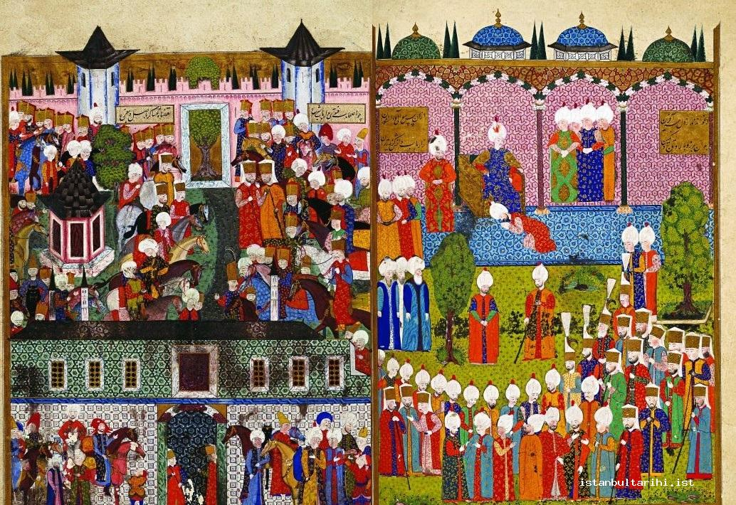 4- The ceremony for the ascension of Sultan Süleyman I to the throne in Topkapı Palace (<em>Süleymanname</em>, 1558) (Topkapı Palace Museum Library, H., no. 1517, fol.18b-18a)