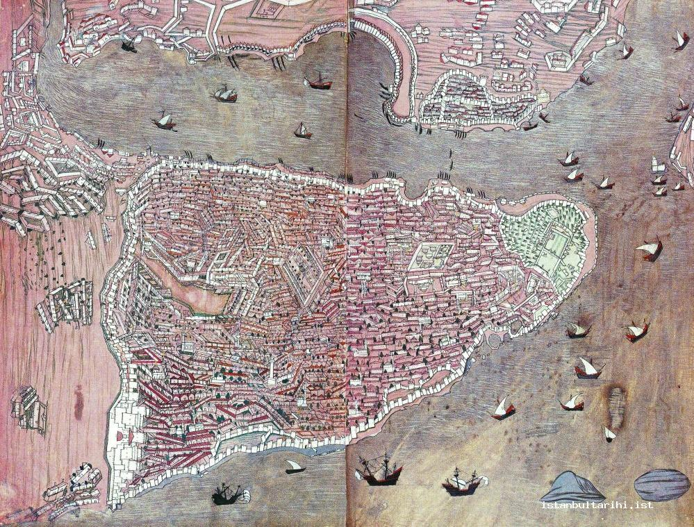 8- A map of Istanbul (Topkapı Palace Museum Library, H., no. 1523, fol. 158b-159a)