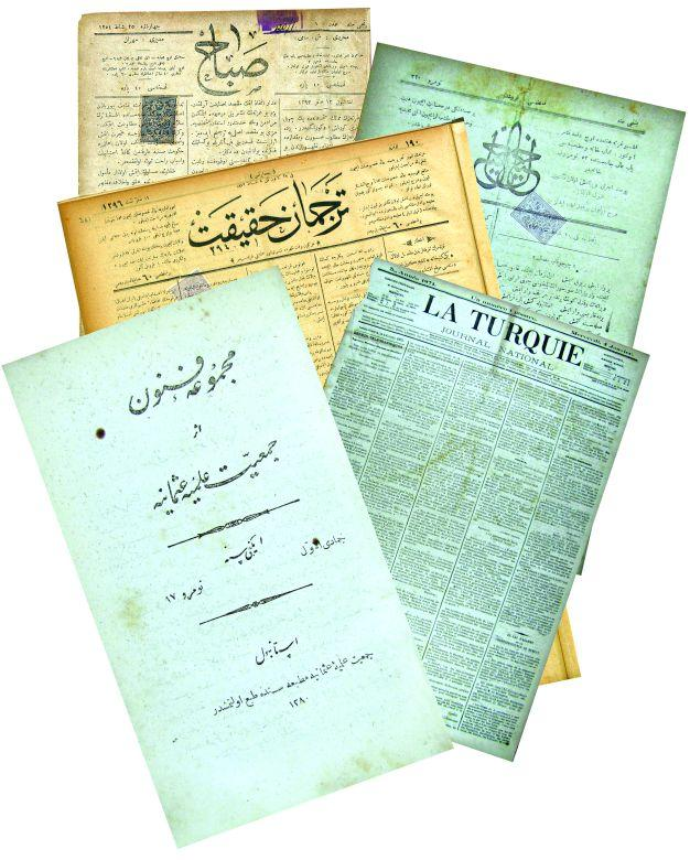 7- The newspapers and journals of <em>Tercüman-ı Hakikat, Sabah, Mecmua-i Funun</em>, and <em>La Turquie</em>