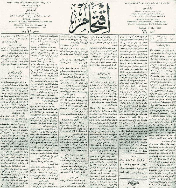 8- <em>İkdam</em> Newspaper. It was published under the title <em>İktiham</em> between 26 February 1912 and 10 August 1912.