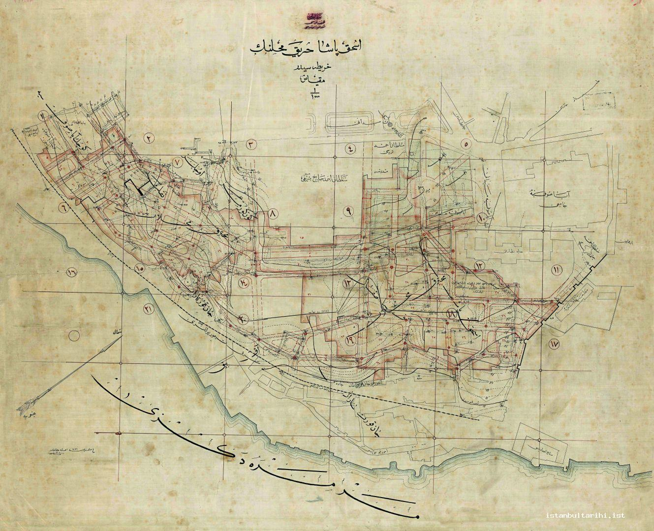 12- The map dated 16 August 1915 about the areas of İshak Paşa Fire (Istanbul Metropolitan Municipality, Atatürk Library)