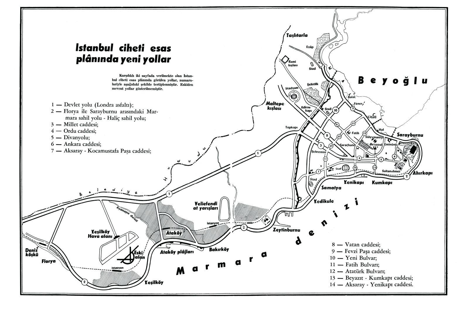 24- New Road Plan of Istanbul during the period of Adnan Menderes (<em>İstanbul'un Kitabı</em>)