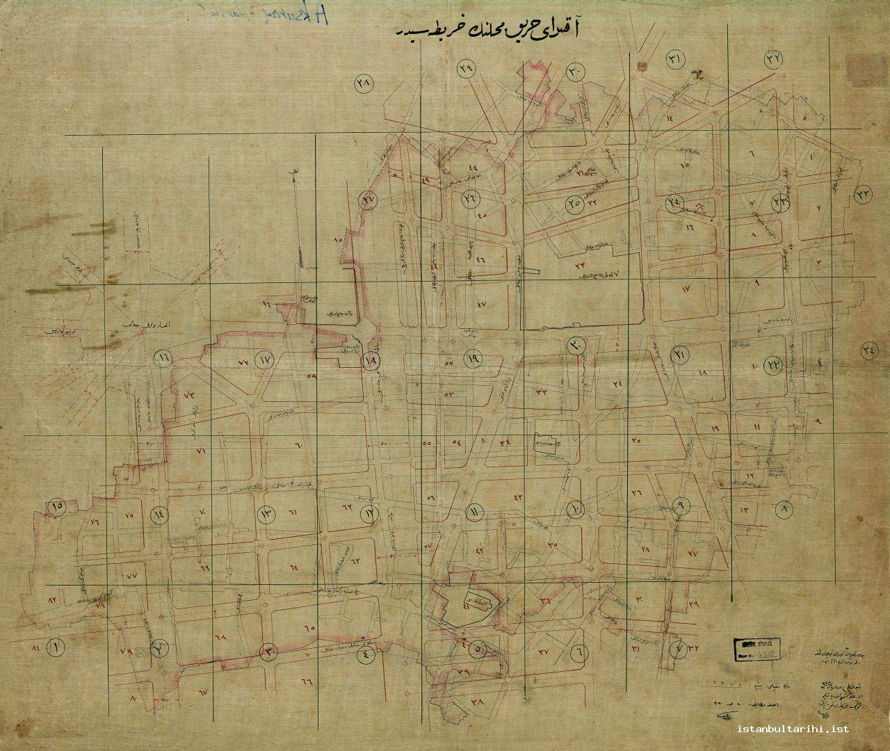7- The map dated 1912 about the areas of Aksaray Fire (Istanbul Metropolitan Municipality, Atatürk Library)