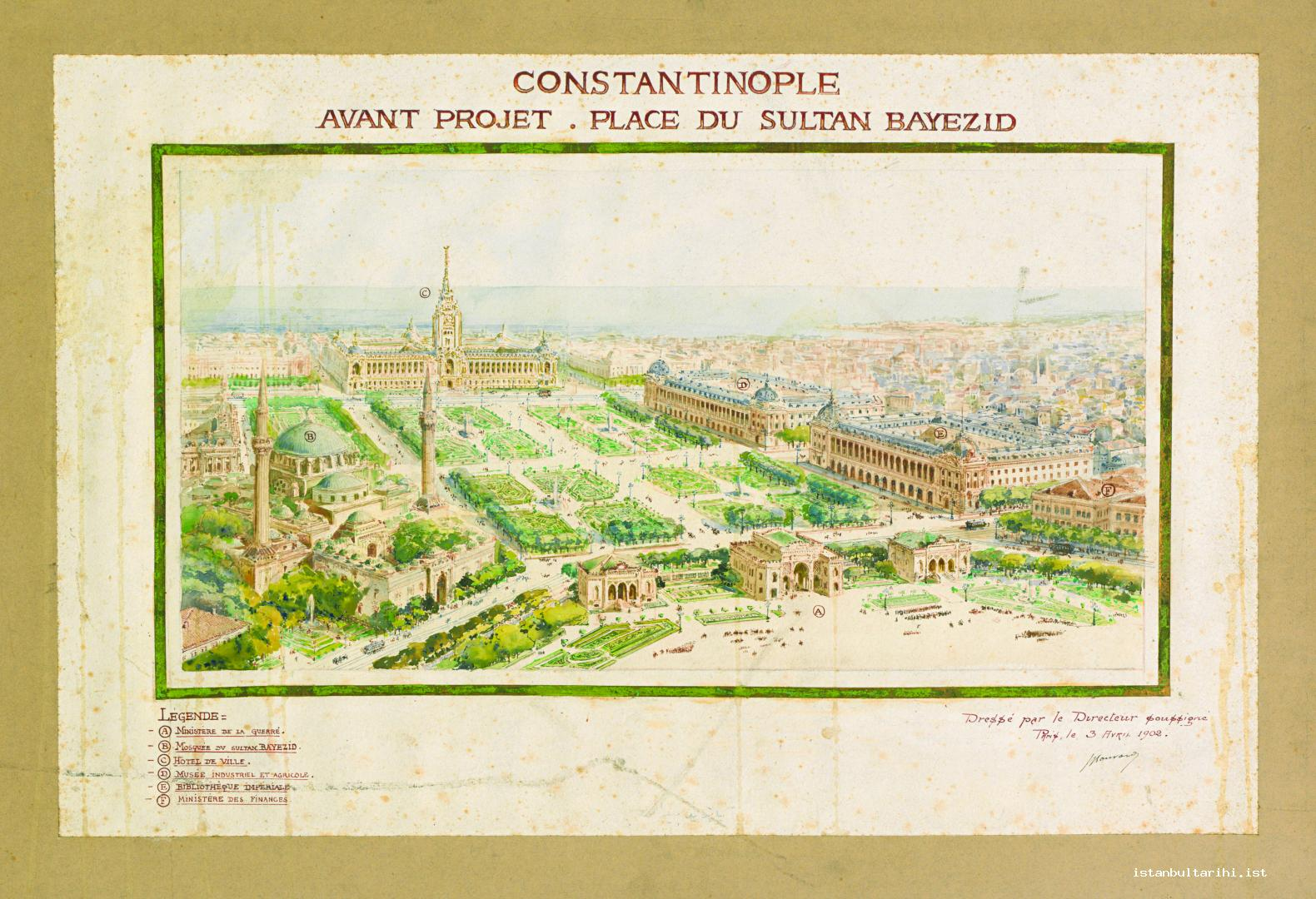 8- Antoine Bouvard's Beyazıt Square Project (Istanbul University, Rare Books and Special Collections Library, Maps Section)